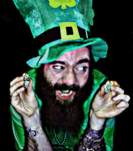 Picture, brearded man with leprechaun hat laughing